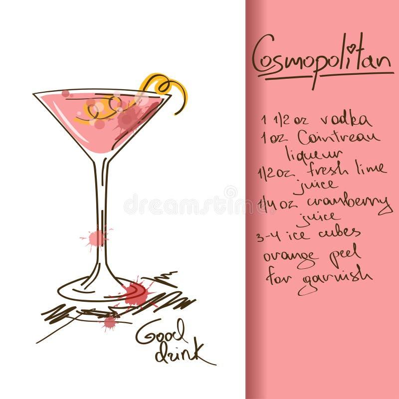 Illustration avec le cocktail cosmopolite illustration de vecteur