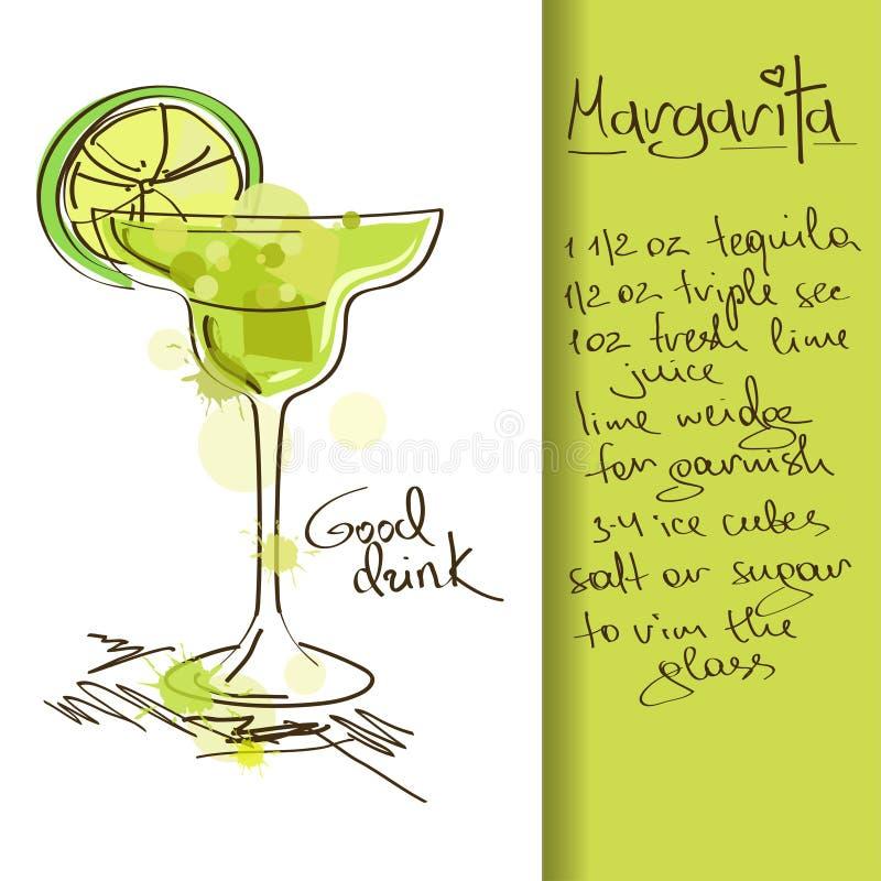 Illustration avec le cocktail de margarita illustration de vecteur
