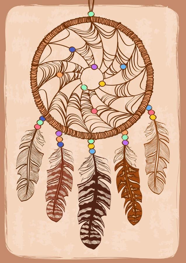 Illustration avec le dreamcatcher tribal illustration de vecteur