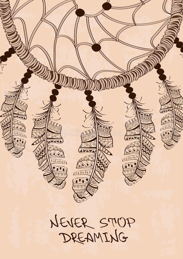 Illustration avec le dreamcatcher tribal illustration stock