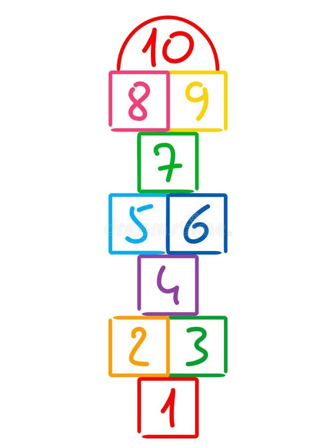 Illustration avec le jeu de jeu de marelle Dessiné dans la craie colorée Illustration plate de vecteur d'isolement sur le fond bl illustration stock