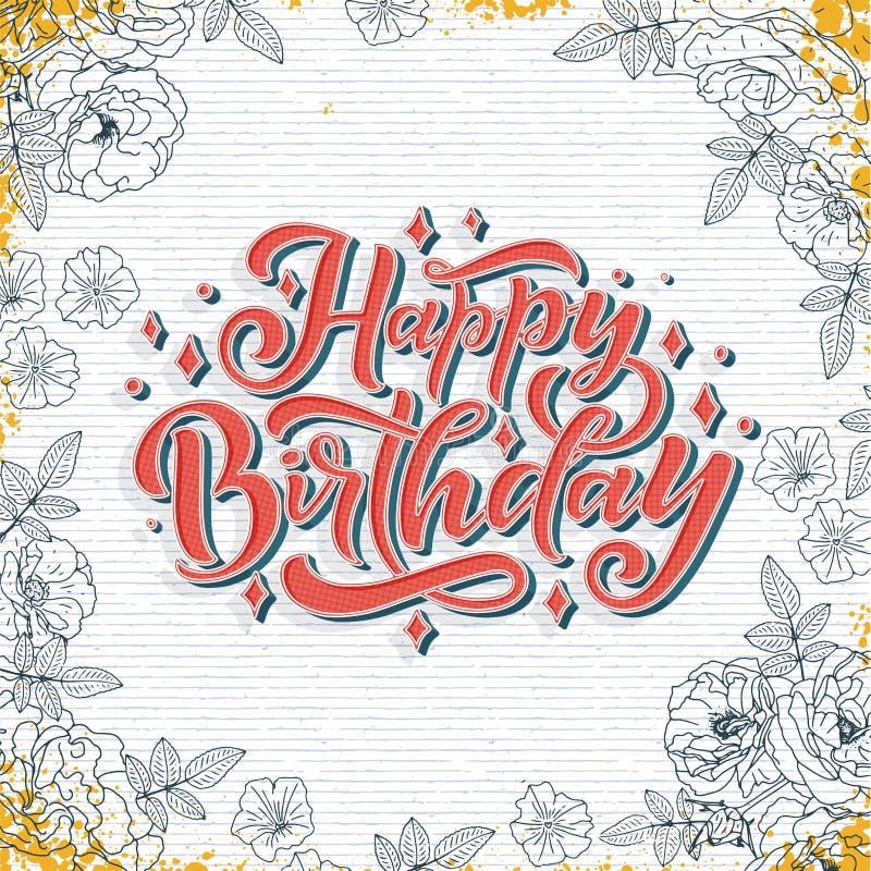 Illustration avec le lettrage de joyeux anniversaire pour la conception de d?coration Carte de f?licitation illustration stock