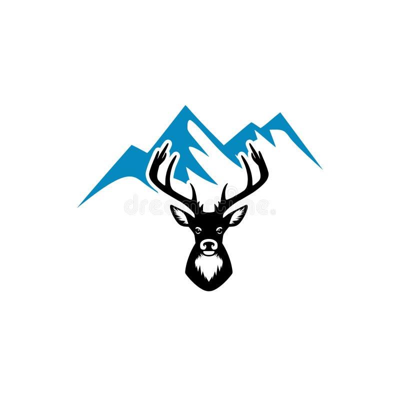 Illustration avec le logo de silhouette et de montagne de cerfs communs illustration libre de droits