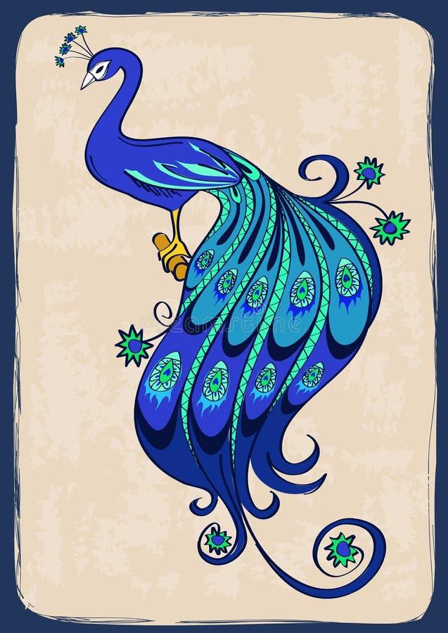 Illustration avec le paon ornemental stylisé illustration libre de droits