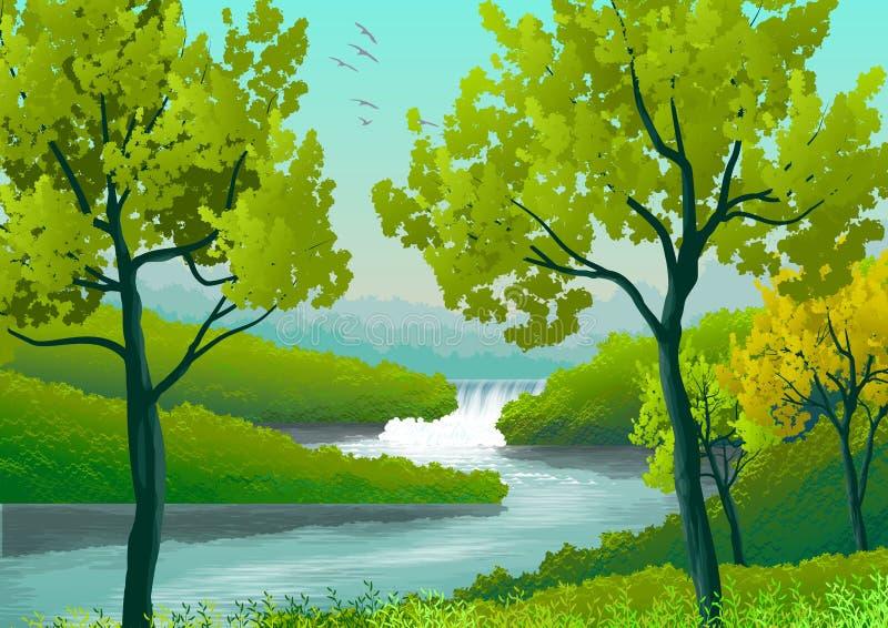 Illustration avec le paysage naturel avec la rivière et le casacata, forêt, arbres illustration libre de droits