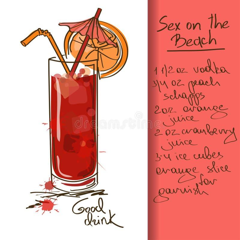 Illustration avec le sexe sur le cocktail de plage illustration libre de droits
