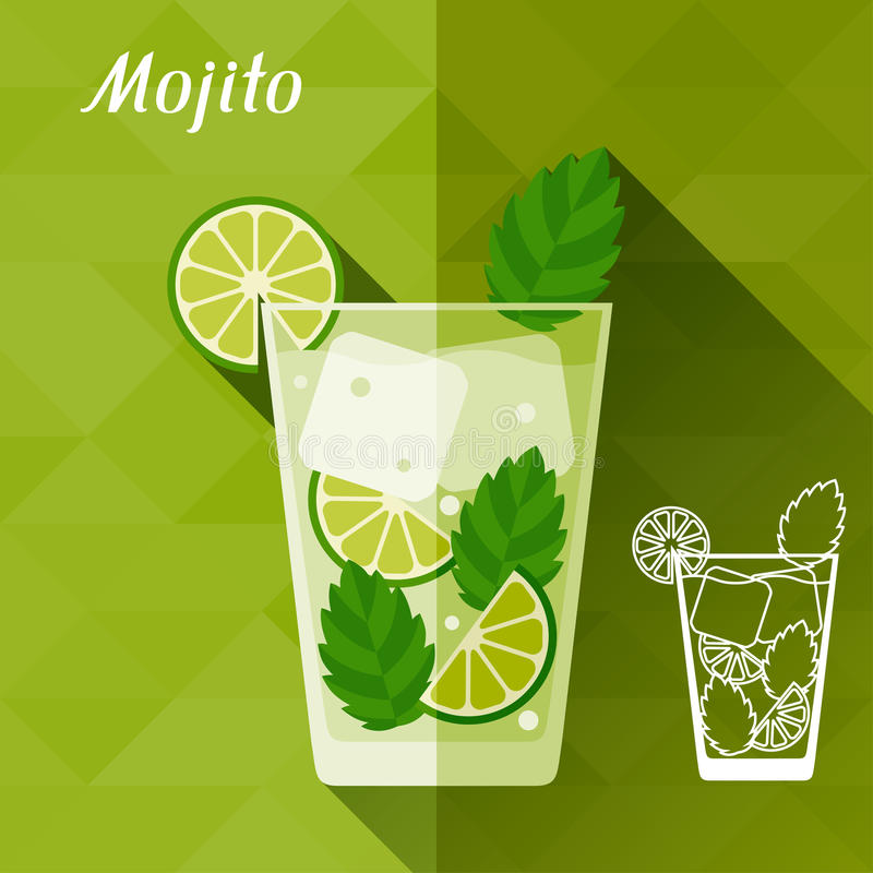 Illustration avec le verre de mojito dans la conception plate illustration stock