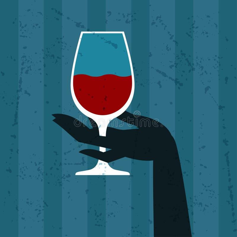 Illustration avec le verre du vin et de la main illustration libre de droits