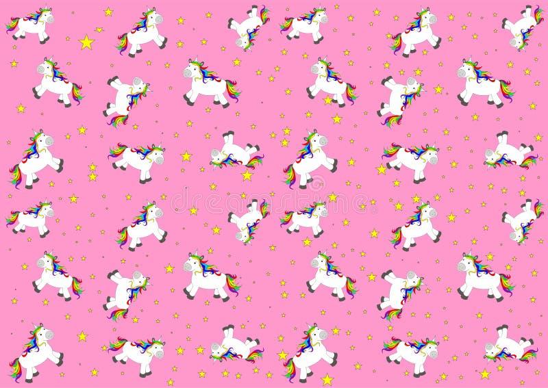 Illustration avec les chevaux mignons et beaux - licornes illustration de vecteur