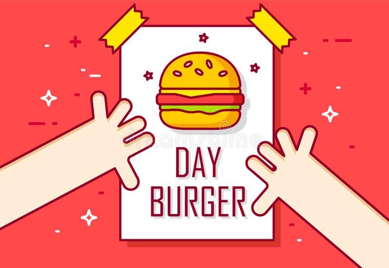 Illustration avec les mains et la page de calendrier Jour d'hamburger Ligne mince bannière plate de conception illustration libre de droits