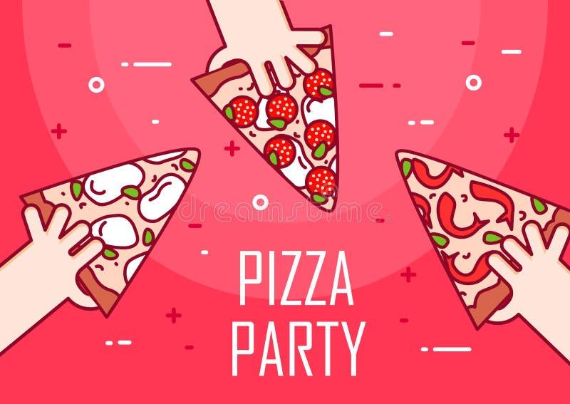 Illustration avec les mains et la tranche de pizza Bannière de vecteur pour les aliments de préparation rapide Ligne mince concep illustration de vecteur