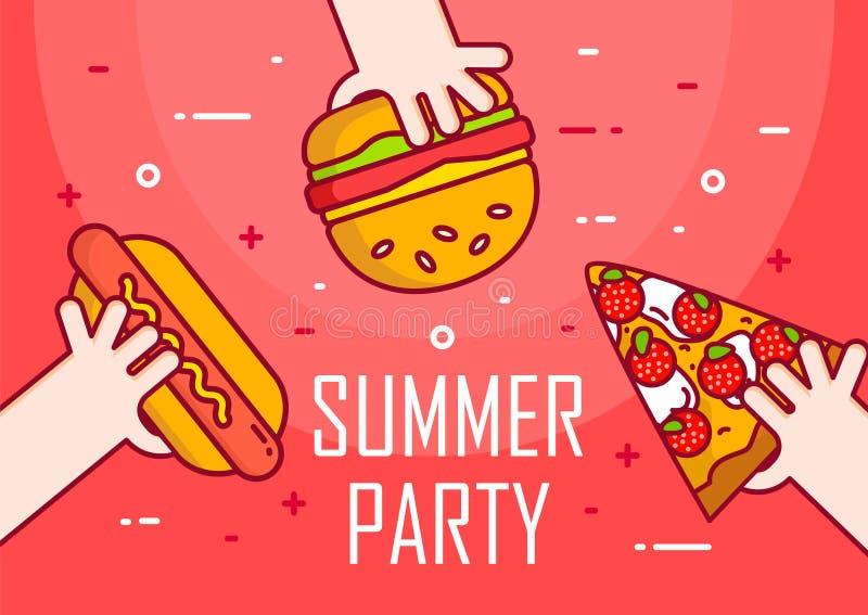 Illustration avec les mains, le hot-dog, l'hamburger et la pizza sur le fond rouge Ligne mince carte plate de conception Bannière illustration stock