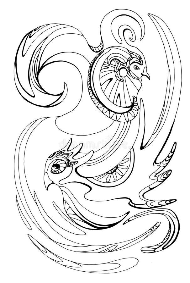 Illustration avec les oiseaux noirs et blancs stylisés illustration de vecteur