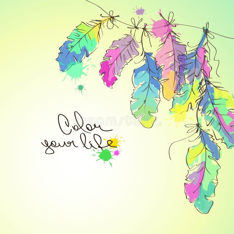 Illustration avec les plumes colorées illustration libre de droits