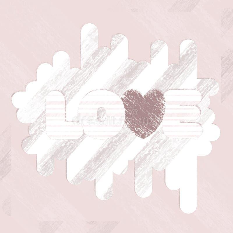 Illustration avec les taches et les rayures de coeur d'amour de mot dans le rétro style grunge dans des tons roses poussiéreux po illustration stock