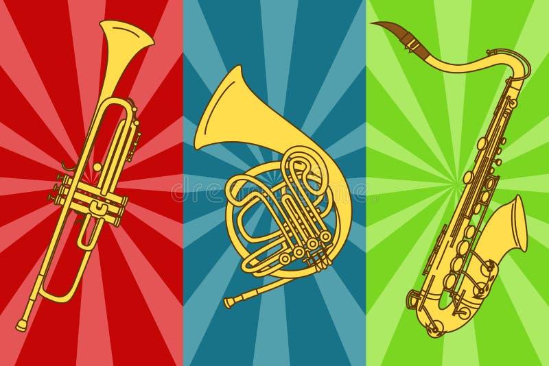 Illustration avec les trompettes et le saxophone d'isolement illustration de vecteur