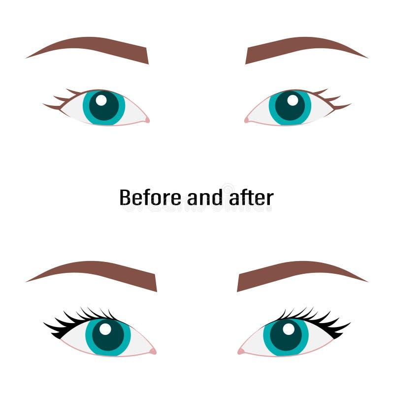Illustration avec les yeux, les cils et les sourcils de la femme Regard de maquillage Tatouage Design Logo pour la barre de front illustration stock