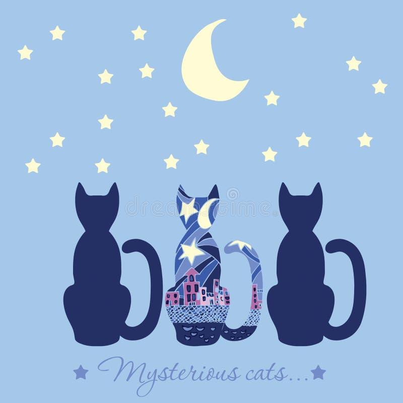 Illustration avec trois chats Chat mystérieux de légende Chats qui a illustration libre de droits