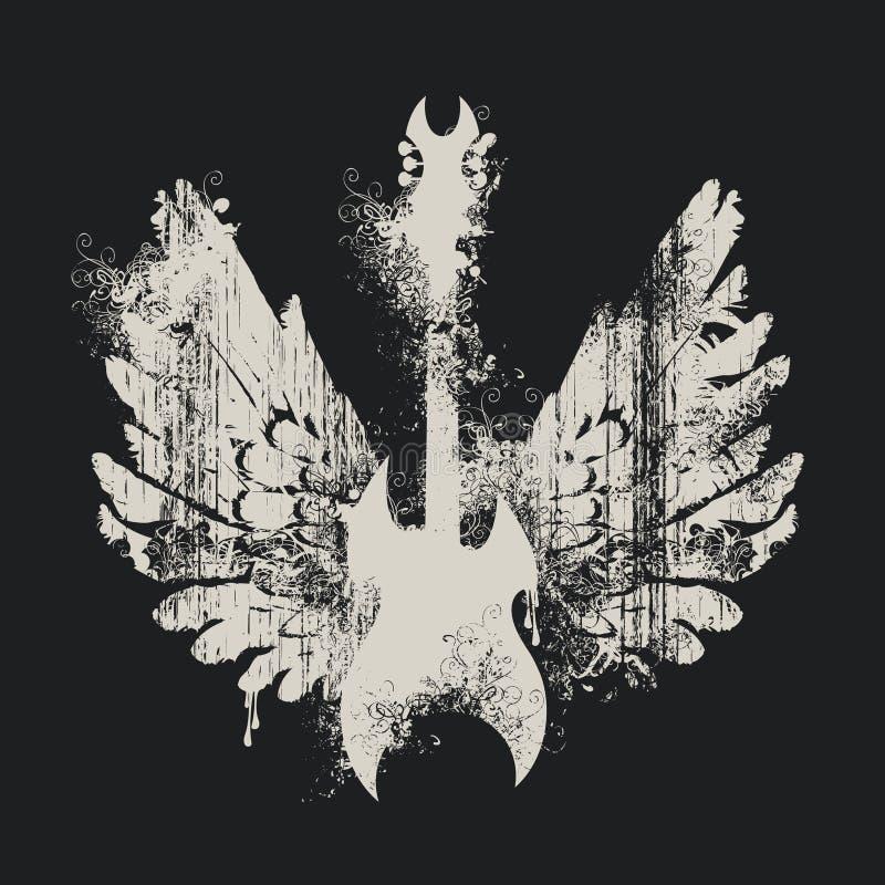 Illustration avec une guitare électrique et des ailes illustration de vecteur