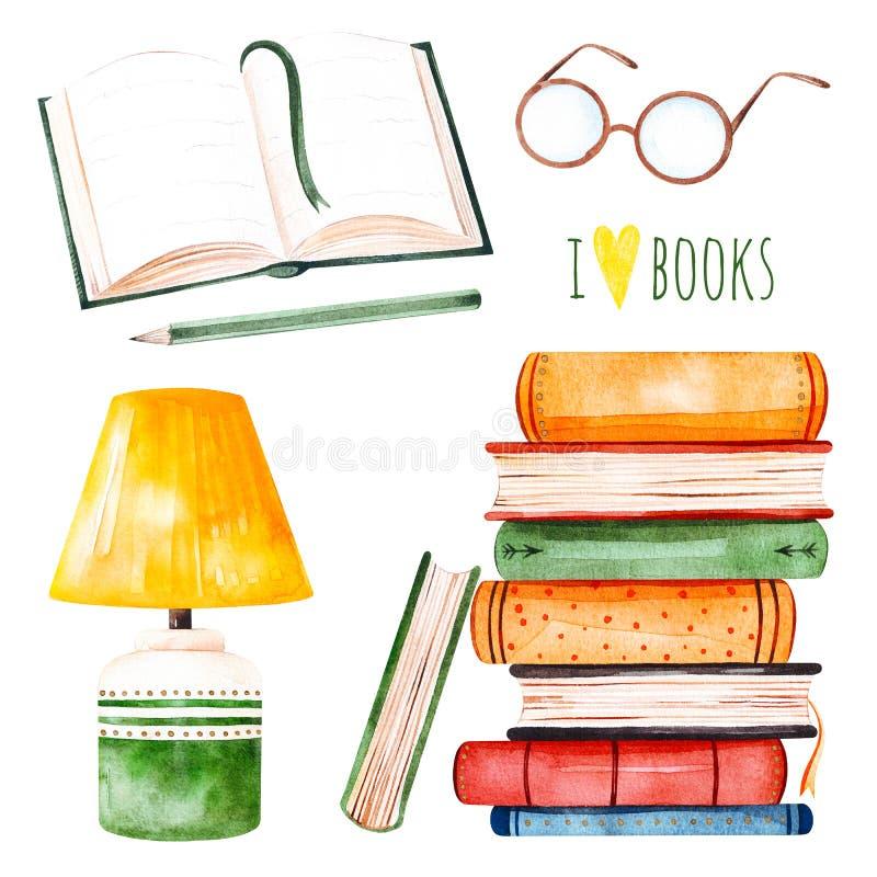 Illustration avec une pile énorme des livres, de la lampe, du livre ouvert, du crayon et des verres illustration libre de droits