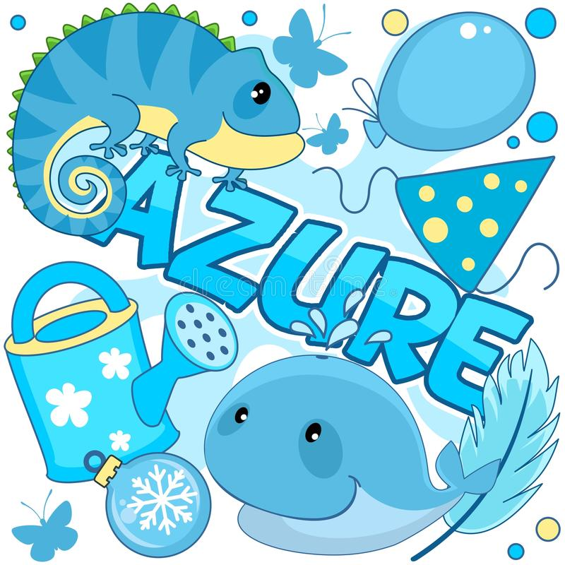 Illustration of azure color. A set of cartoon illustrations for children of azure color with a picture of a watering can, a whale, a toy, a ball, an iguana, a vector illustration