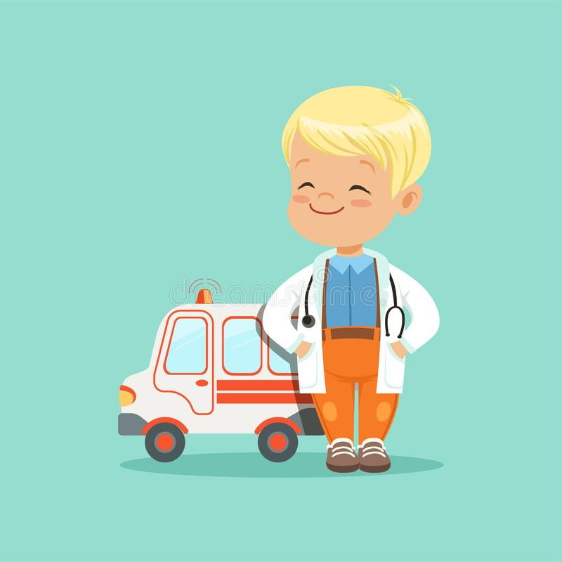 Flat vector of baby boy in white medical coat and stethoscope around his neck standing with hands in pockets near toy royalty free illustration