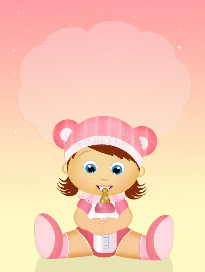 Baby girl with baby bottle. Illustration of baby girl with baby bottle stock illustration