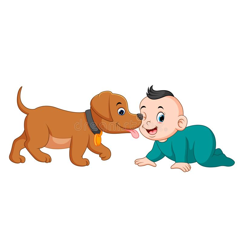 A baby playing with little dog. Illustration of A baby playing with little dog stock illustration