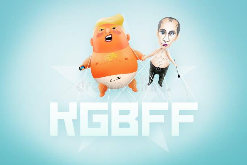 Illustration of Baby Trump and Putin Blimp. stock illustration