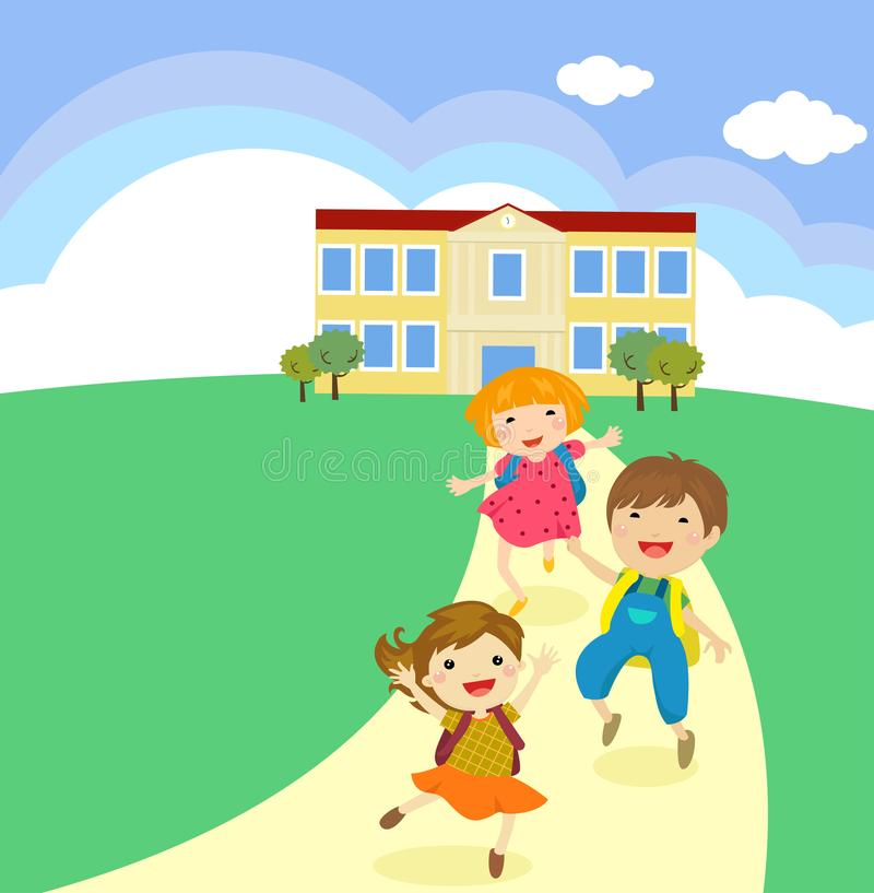 Back to School concept Student kids cartoon jumping and running stock illustration