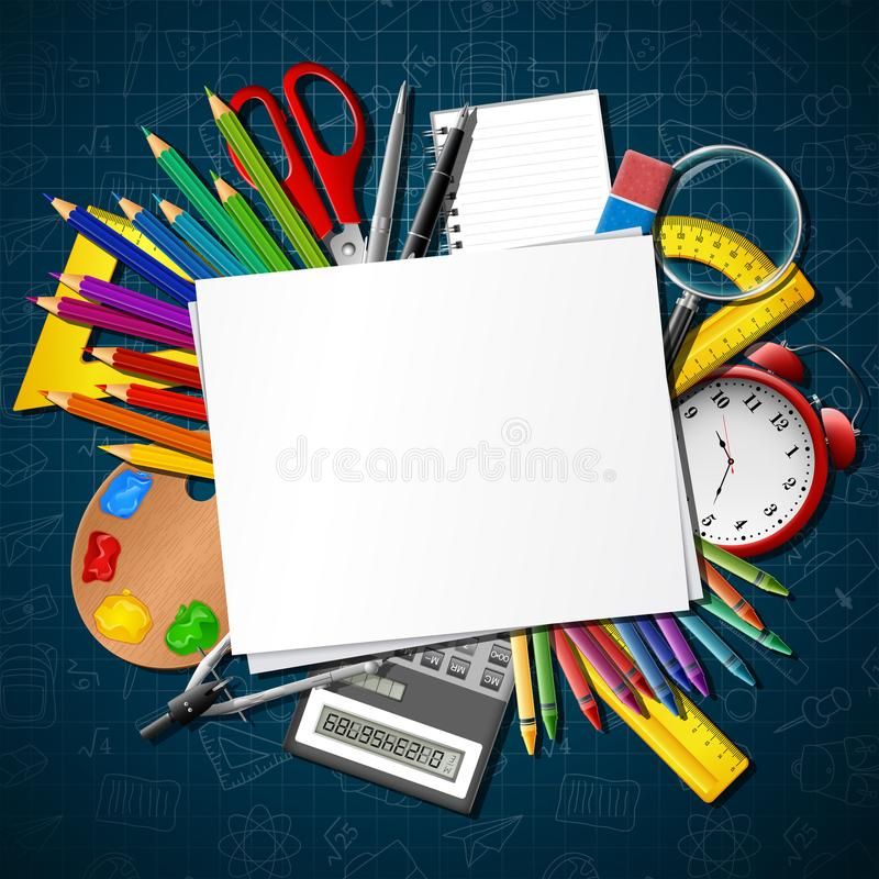 Back to school. School supplies and blank paper stock illustration