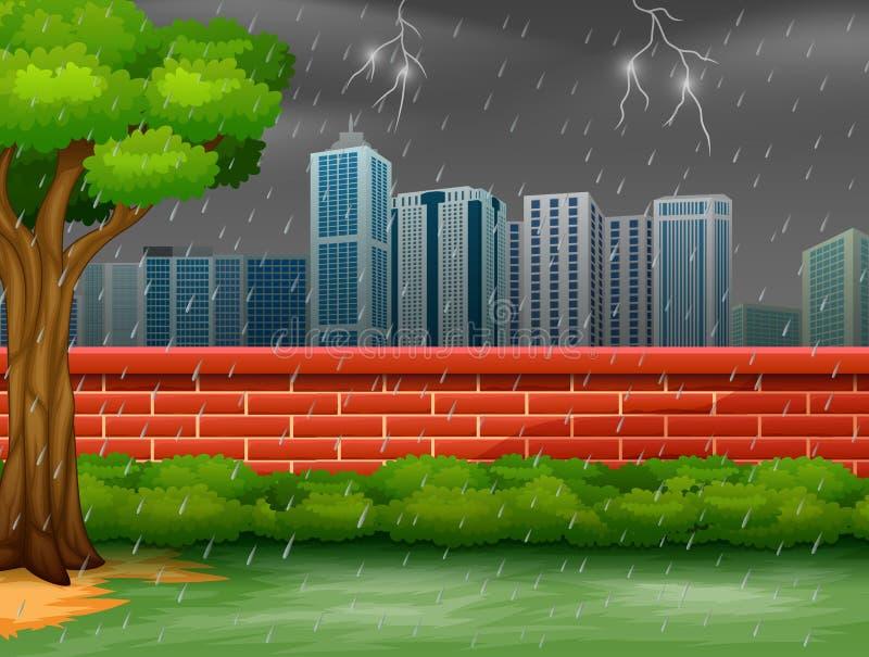 Background city scene with thunderstorm and lightning stock illustration