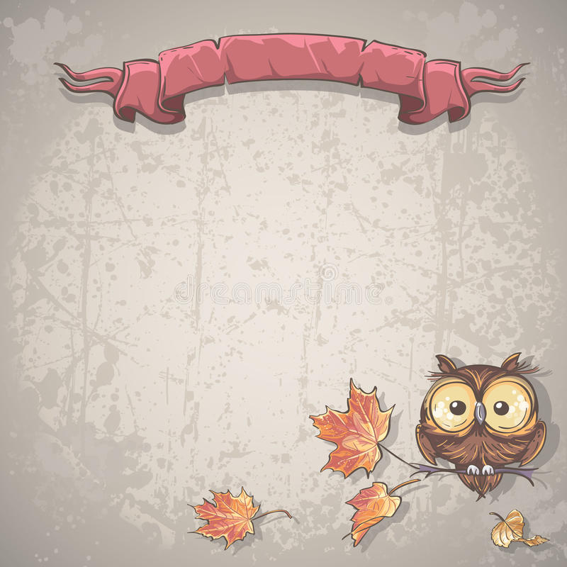 Illustration background with owl and autumn leaves stock illustration