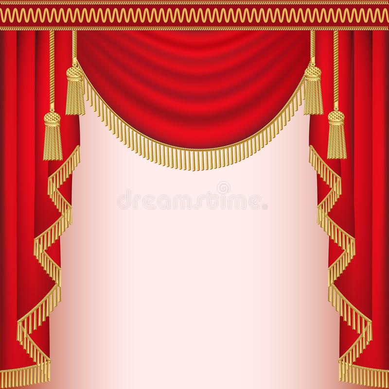 Download Background With Red Velvet Curtain Tassels Stock Vector