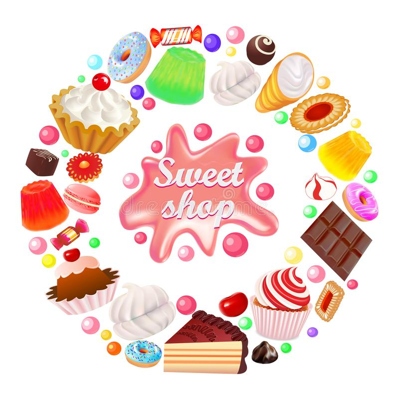background sweets shop in a circle vector cakes sweets, cookies, gingerbread, jelly, marshmallows vector illustration