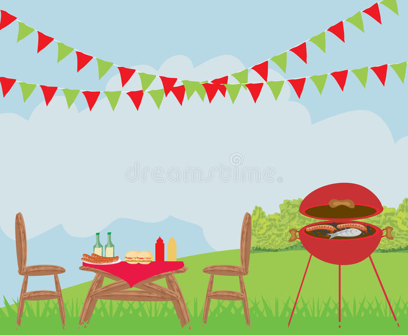 Illustration of backyard barbecue scene. Illustration stock illustration