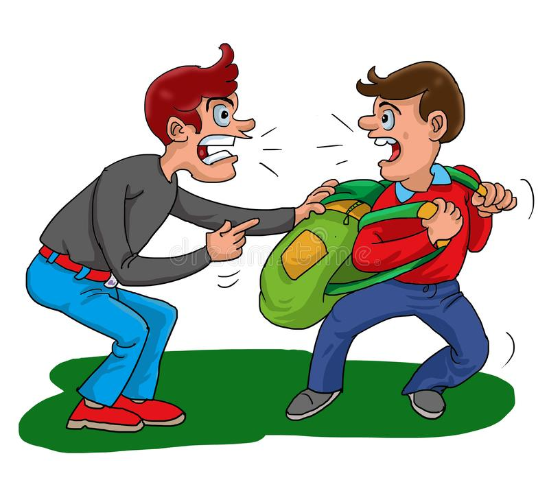 Illustration Bad Boy was bully student on the way to school. royalty free illustration