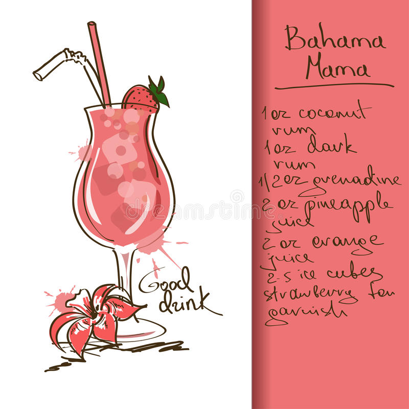 Illustration with Bahama Mama cocktail. Illustration with hand drawn Bahama Mama cocktail royalty free illustration