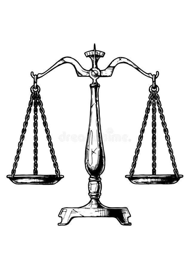 Illustration of balance scale. Vector hand drawn illustration of balance scale in vintage engraved style. Isolated on white background stock illustration