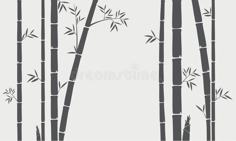 Bamboo tree silhouette background stock illustration