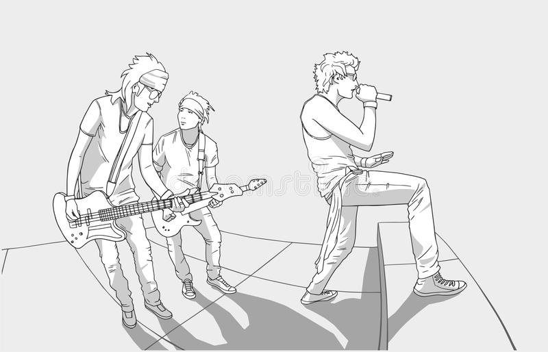 Drawing Lines Band : Illustration of band performing on stage stock vector