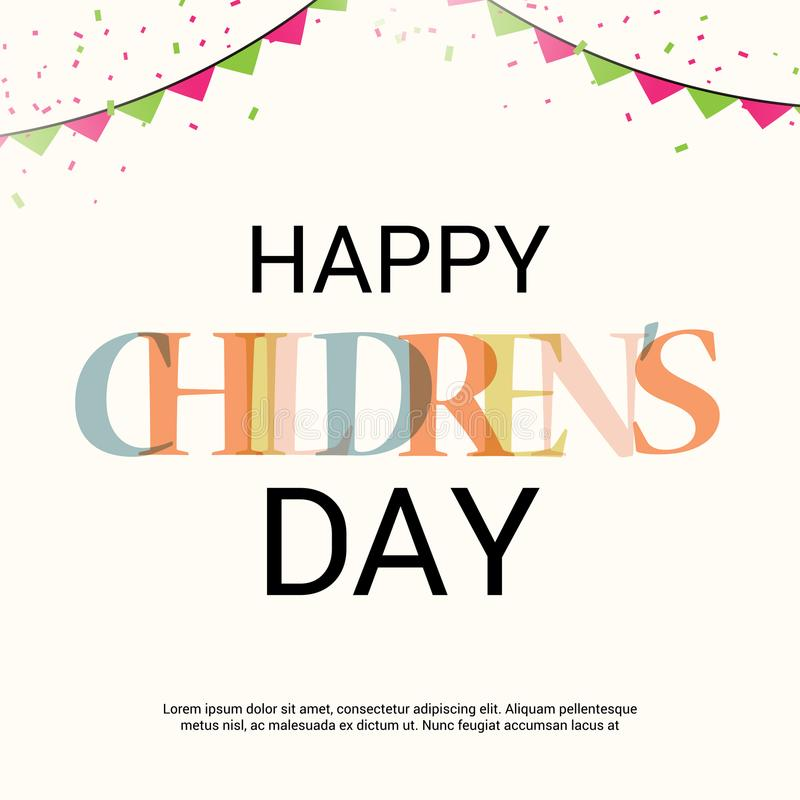 Happy Children`s Day. Illustration of a Banner for Happy Children`s Day stock illustration