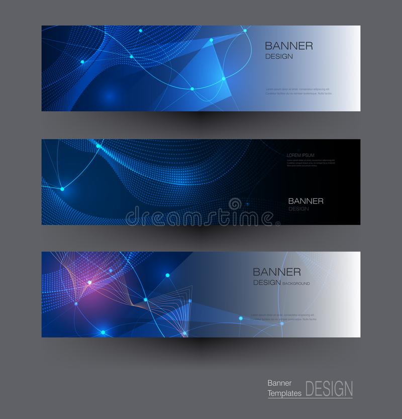 Illustration banners set, Abstract Molecules with Circles, Lines, Geometric, Polygon. Vector design network communication on dark. Blue background. Futuristic vector illustration