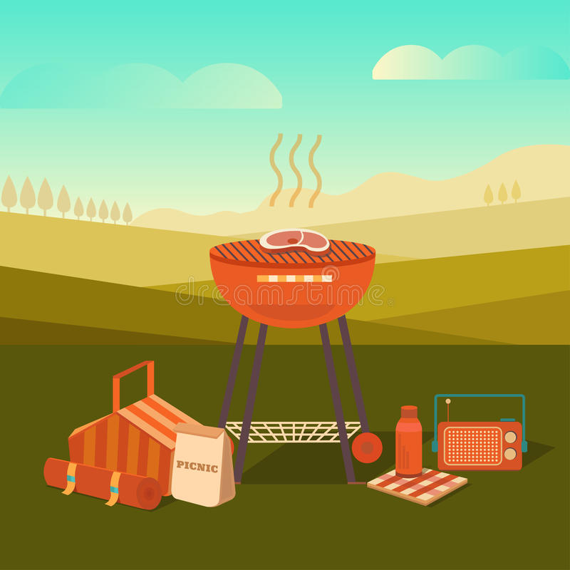 Illustration of a barbecue outdoors stock illustration