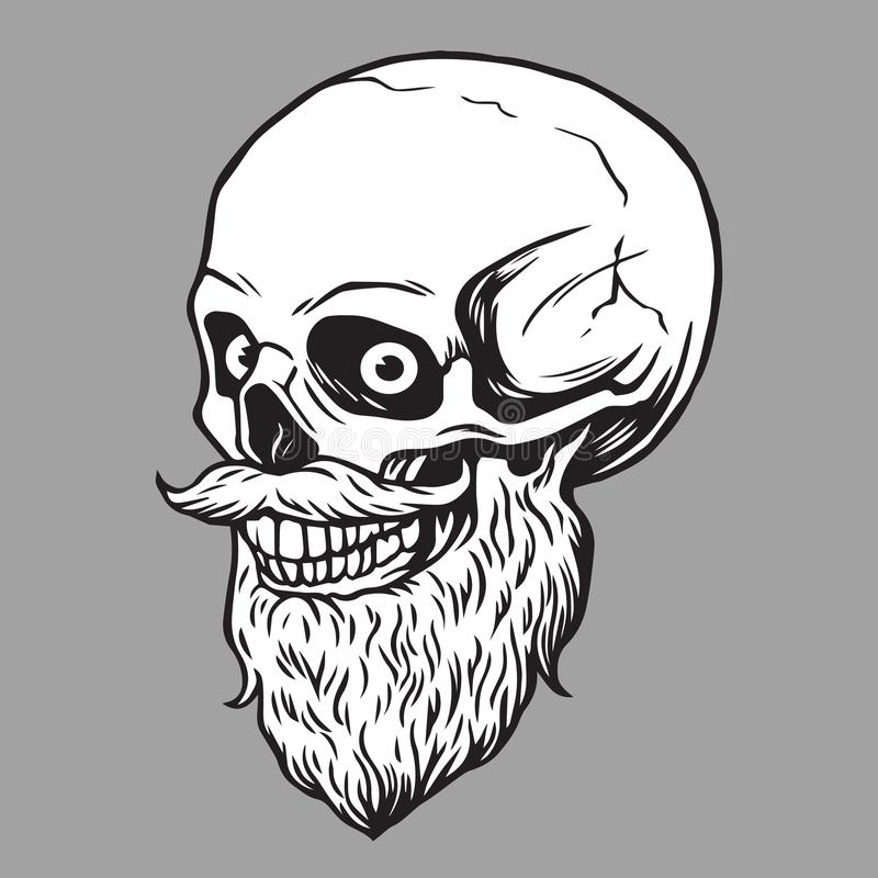 Illustration barbue de hippie de crâne illustration stock