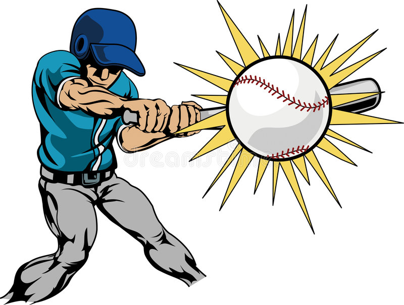 Illustration of baseball player hitting baseball royalty free illustration