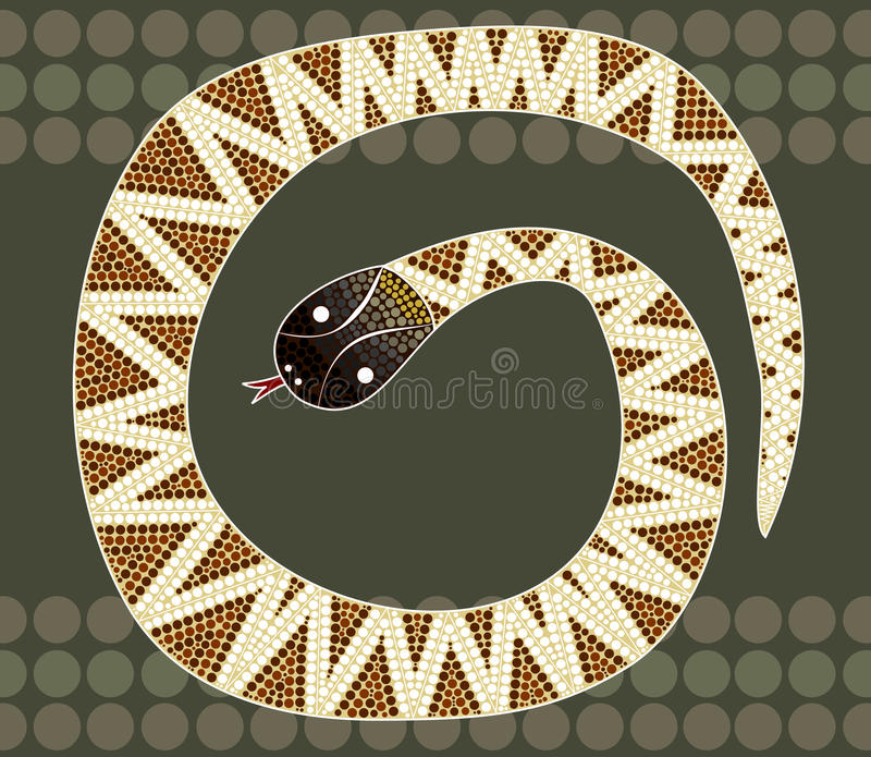 A illustration based on aboriginal style of dot painting depicting black-headed python royalty free illustration