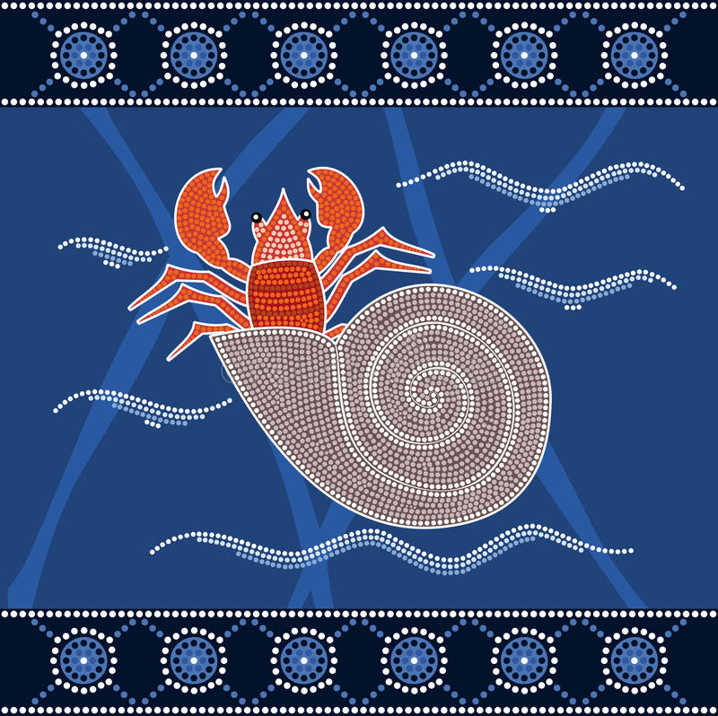 A illustration based on aboriginal style of dot painting depicting hermit crab. vector illustration