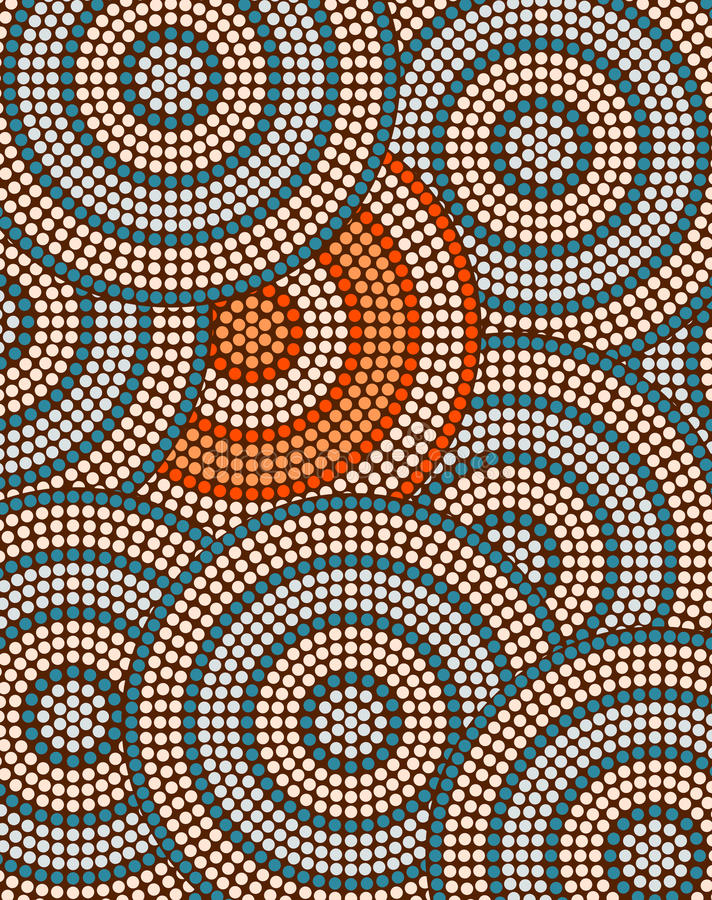 A illustration based on aboriginal style of dot painting depicting circle background royalty free illustration