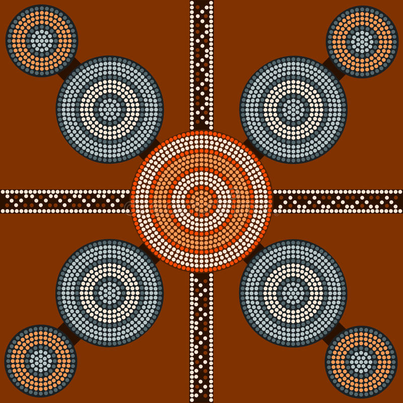 A illustration based on aboriginal style of dot painting depicting circle background 2 royalty free illustration